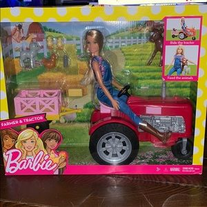 NEW BARBIE FARMER & TRACTOR & ANIMALS SET